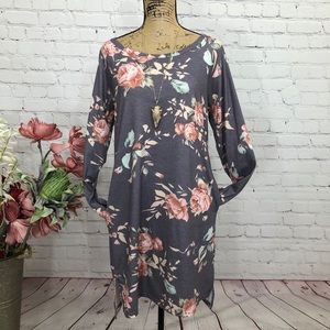 Boutique Boho Floral Pocketed Slitted Dress